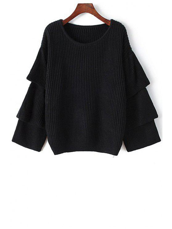hot Multi-Layered Sleeves Solid Color Round Collar Sweater - BLACK ONE SIZE(FIT SIZE XS TO M)
