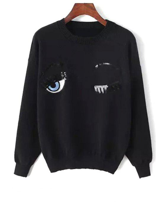 outfit Sequined Eyes Pattern Sweater - BLACK ONE SIZE(FIT SIZE XS TO M)