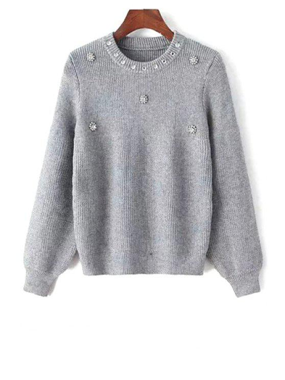shops Round Neck Beaded Sweater - GRAY ONE SIZE(FIT SIZE XS TO M)