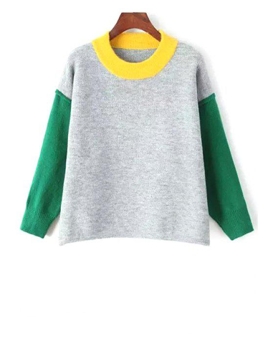 fashion Jewel Neck Hit Color Sweater - GRAY ONE SIZE(FIT SIZE XS TO M)