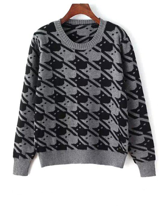 unique Full Kitten Jacquard Sweater - GRAY ONE SIZE(FIT SIZE XS TO M)