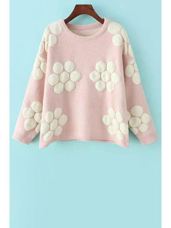 affordable Flower Pattern Jacquard Sweater - PINK ONE SIZE(FIT SIZE XS TO M)