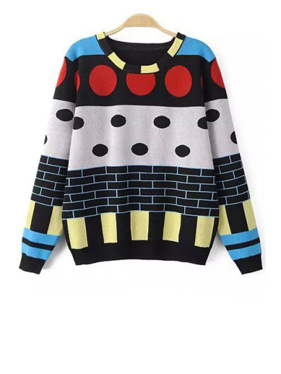 trendy Geometric Print Loose Fitting Long Sleeevs Sweater - COLORMIX S