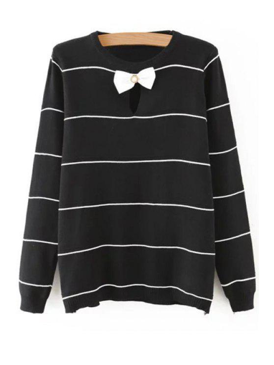 fancy Striped Bow Tie Cut Out Long Sleeves Sweater - BLACK M