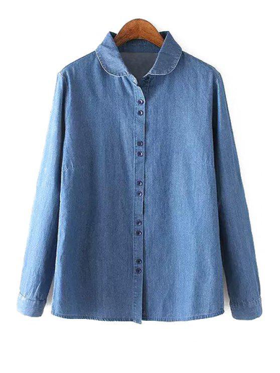 best Denim Turn Down Collar Long Sleeve Shirt - BLUE S