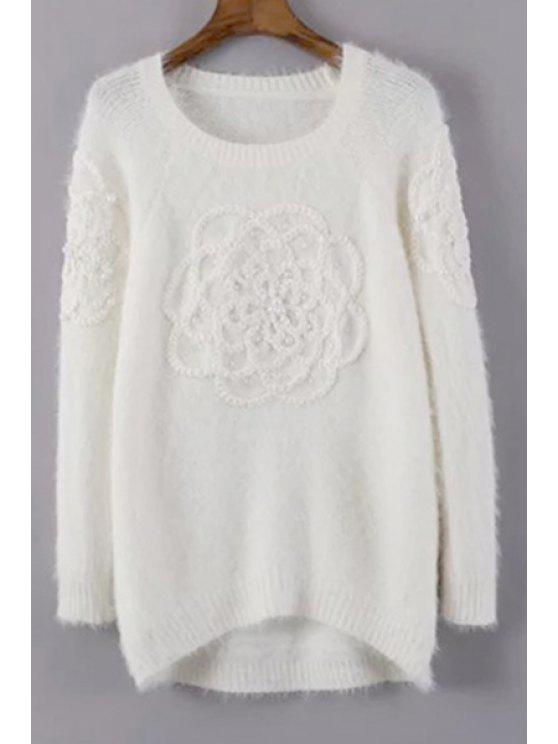 ladies Scoop Neck Beading Plait Sweater - WHITE ONE SIZE(FIT SIZE XS TO M)