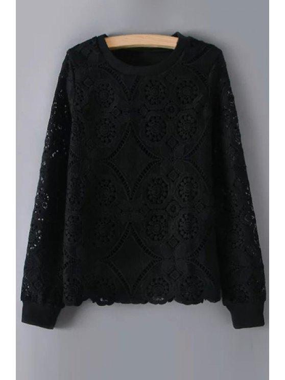 latest Openwork Lace Hook Solid Color Long Sleeves Sweatshirt - BLACK M
