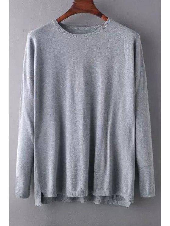 outfit Gray Round Neck Long Sleeve Jumper - GRAY S