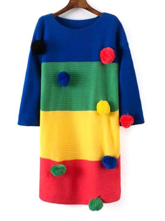 new Color Block Hair Ball Long Sweater - COLORMIX ONE SIZE(FIT SIZE XS TO M)