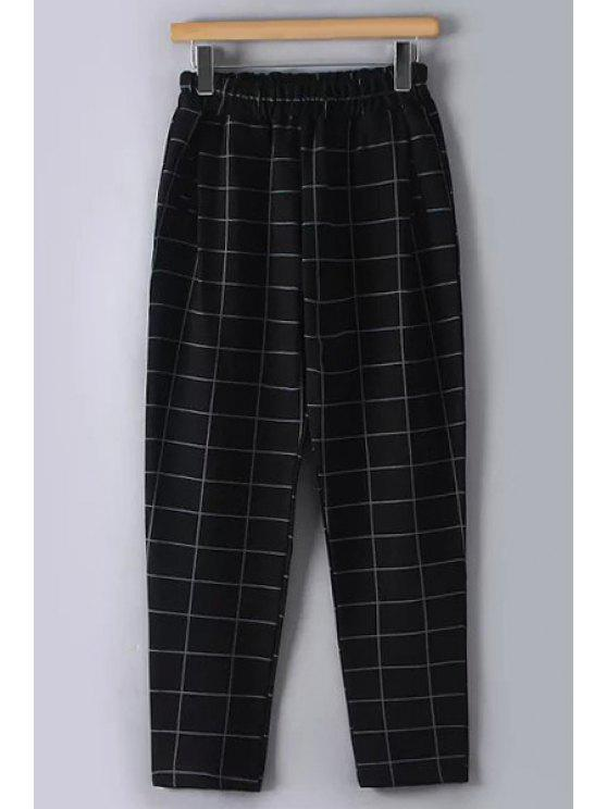 shop Checked Thicken Loose Fitting Pants - BLACK M