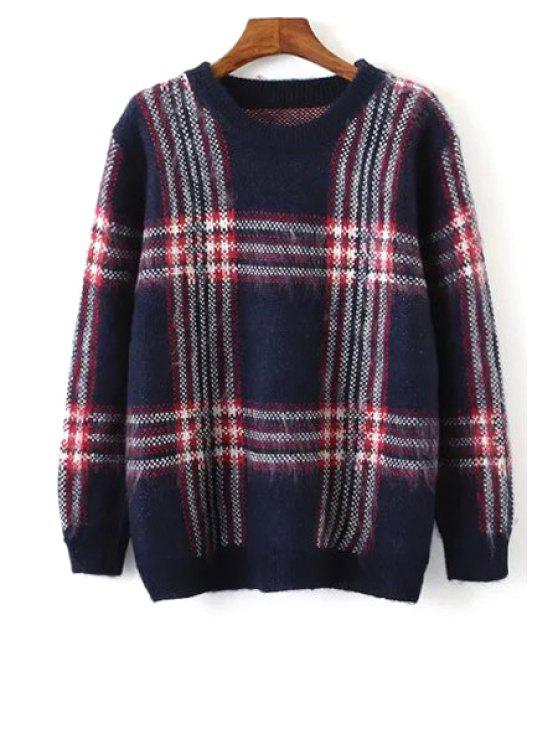 hot Round Neck Long Sleeve Plaid Jumper - PURPLISH BLUE ONE SIZE(FIT SIZE XS TO M)