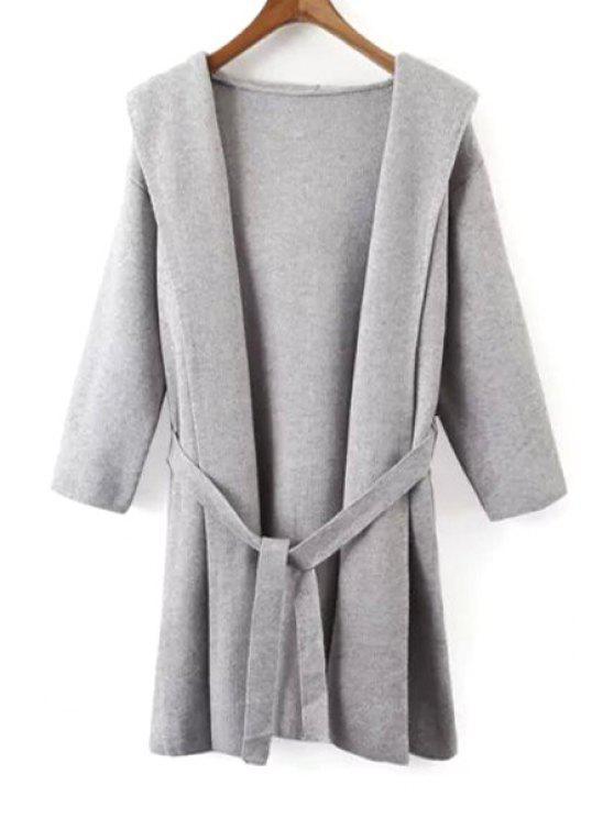 shop Hooded Solid Color Belted Cardigan - GRAY ONE SIZE(FIT SIZE XS TO M)