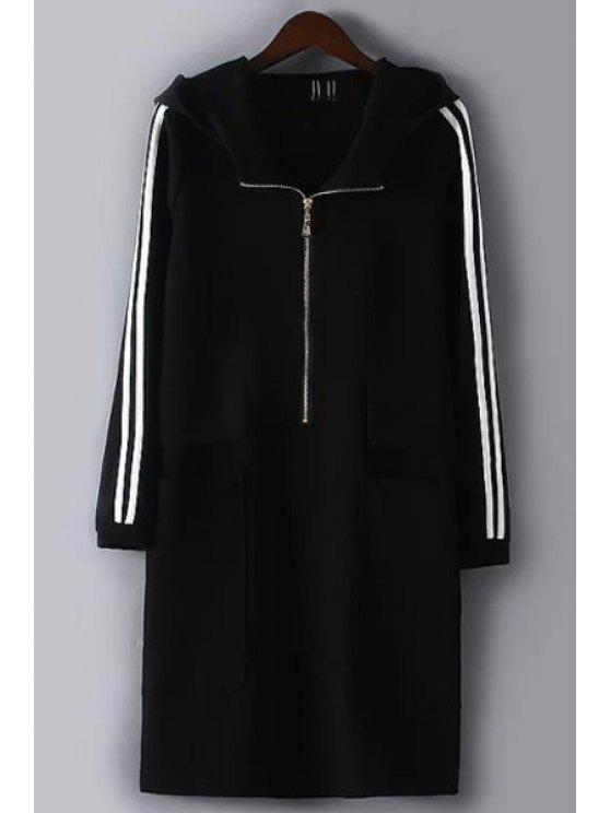 fashion White and Black Striped Hooded Neck Long Coat - BLACK M