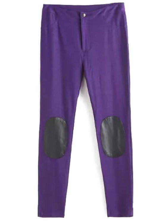 hot PU Leather Spliced Narrow Feet Pants - PURPLE L
