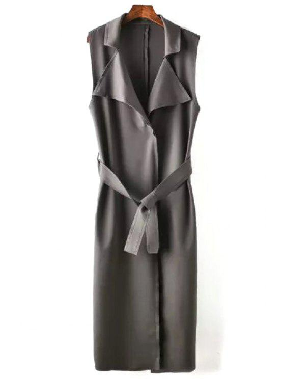 trendy Solid Color Turn Down Collar Maxi Waistcoat - GRAY S