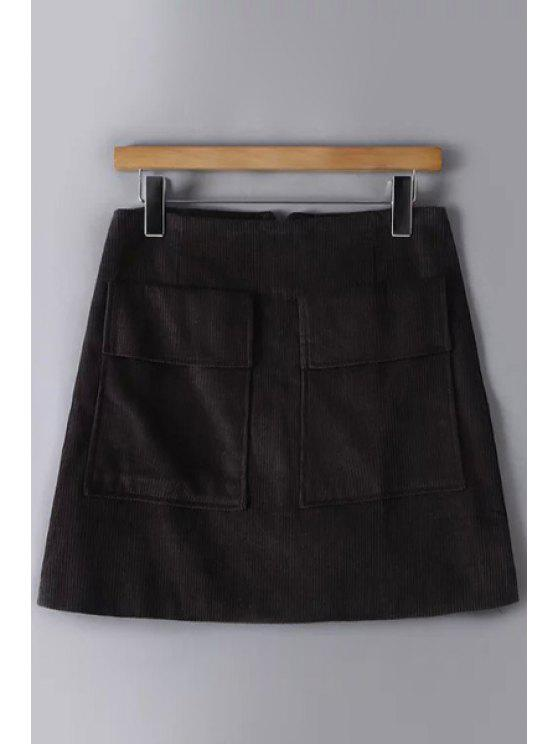 009ecedbc0ba11 29% OFF] 2019 Solid Color Corduroy Pockets Mini Skirt In GRAY | ZAFUL