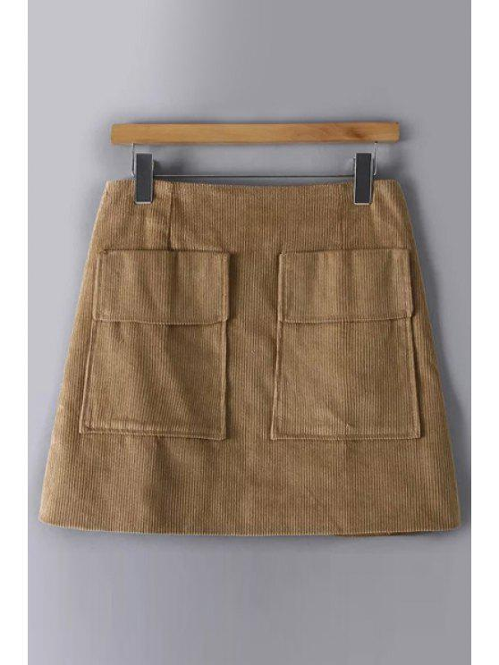 7f552354920656 38% OFF] 2019 Solid Color Corduroy Pockets Mini Skirt In KHAKI M | ZAFUL