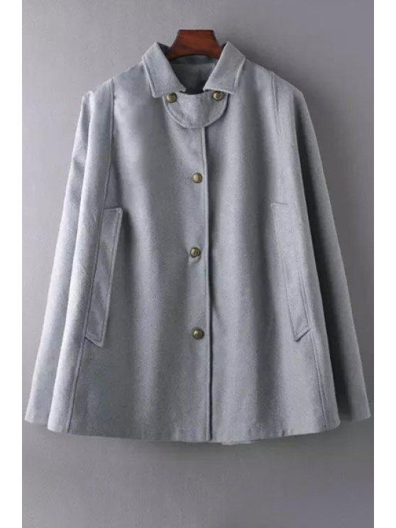 buy Solid Color Turn Down Collar Cape Coat - GRAY S