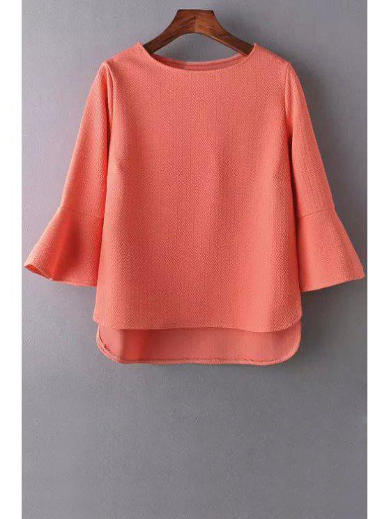 hot Pure Color Jewel Neck 3/4 Sleeve Blouse - ORANGEPINK S