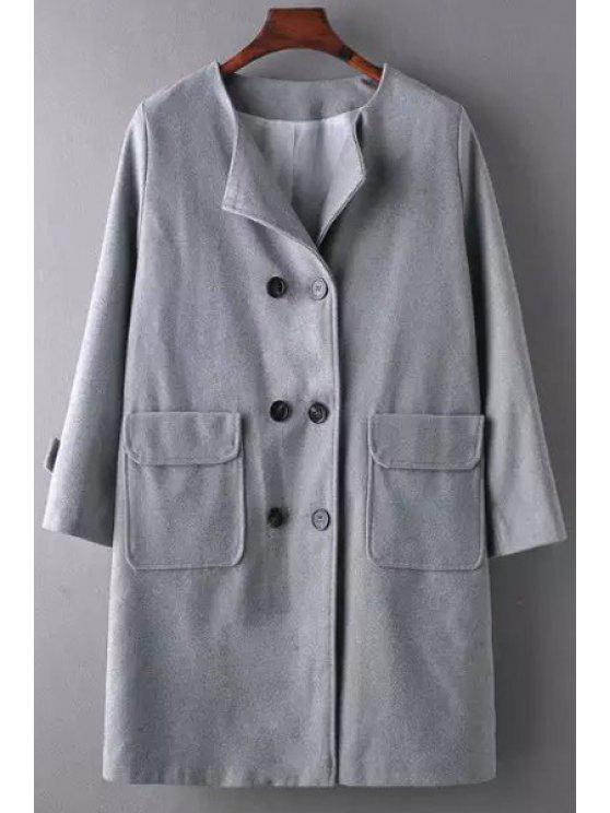best Gray Long Sleeve Double-Breasted Coat - GRAY S