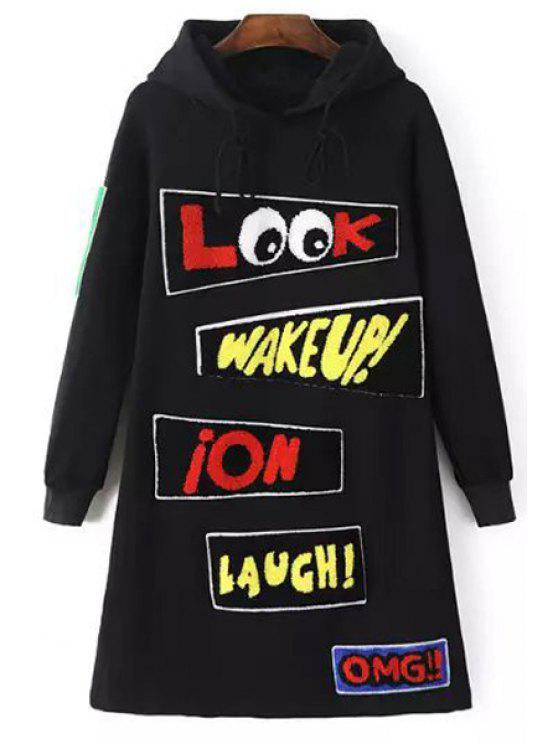 unique Applique Letter Print Hooded Neck Dress - BLACK XS