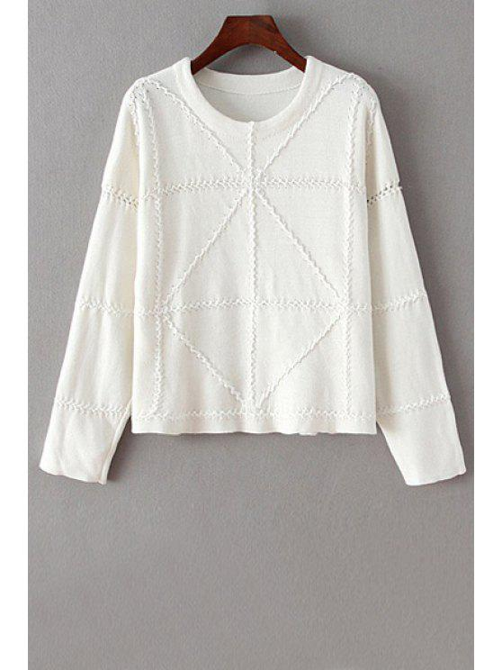 fashion Round Neck Handwork White Sweater - WHITE ONE SIZE(FIT SIZE XS TO M)