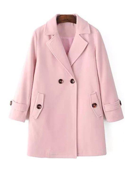 shop Pure Color Long Sleeves Lapel Collar Coat - PINK M