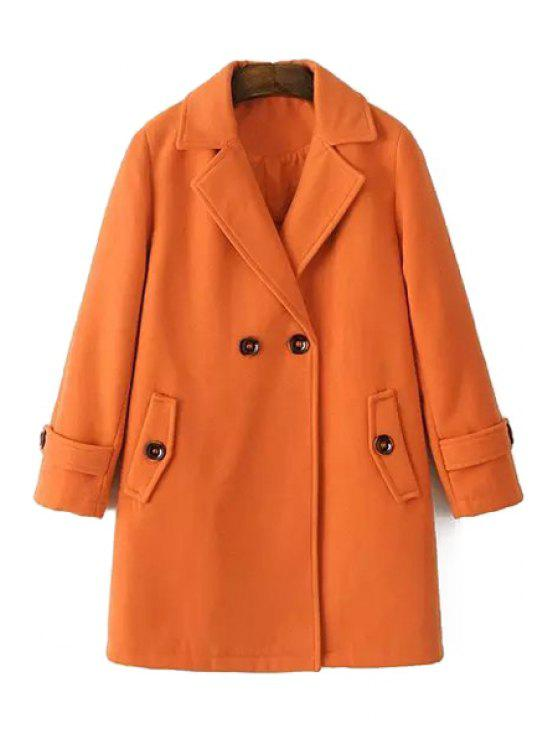 fancy Pure Color Long Sleeves Lapel Collar Coat - ORANGE M