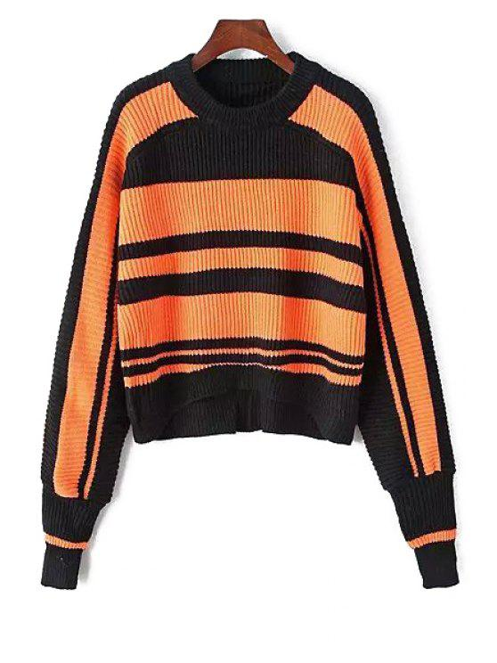 trendy Striped Long Sleeves Pullover Sweater - ORANGE ONE SIZE(FIT SIZE XS TO M)