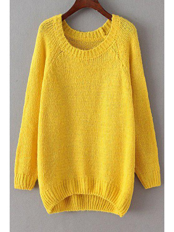 chic Loose-Fitting Pure Color Sweater - YELLOW ONE SIZE(FIT SIZE XS TO M)