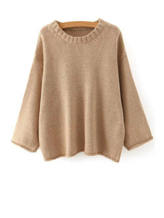 new Solid Color Loose Fitting Long Sleeves Sweater - APRICOT ONE SIZE(FIT SIZE XS TO M)