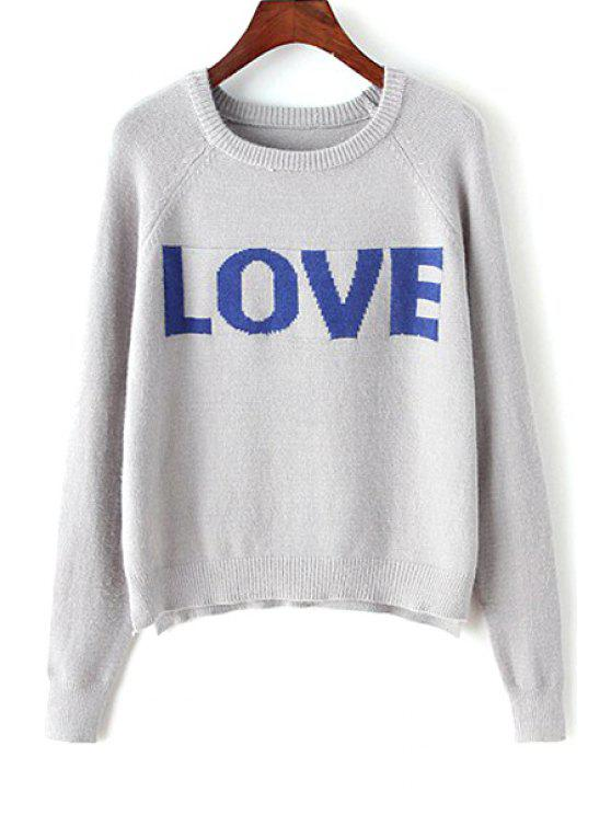 unique High Low Love Jacquard Sweater - GRAY ONE SIZE(FIT SIZE XS TO M)