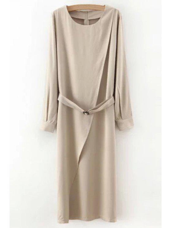 buy Solid Color Sashes Round Collar Long Sleeves Dress - LIGHT KHAKI S