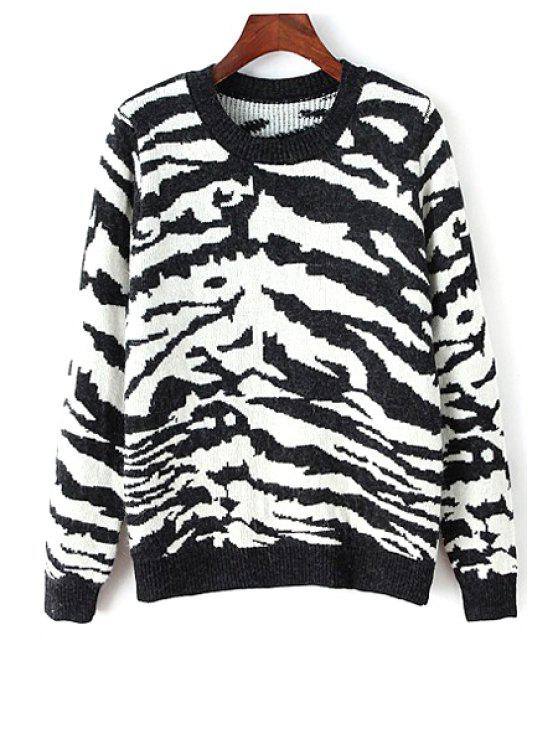 women Round Neck Zebra Pattern Sweater - WHITE AND BLACK ONE SIZE(FIT SIZE XS TO M)