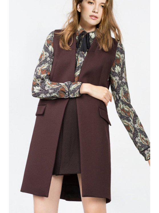 shops Back Slit Pockets Long Solid Color Waistcoat - COFFEE S