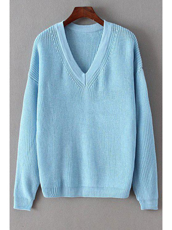 best V-Neck Long Sleeve Solid Color Sweater - BLUE ONE SIZE(FIT SIZE XS TO M)