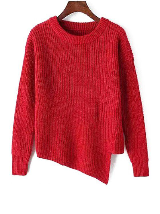 sale Irregular Hem Scoop Neck Long Sleeve Jumper - RED ONE SIZE(FIT SIZE XS TO M)