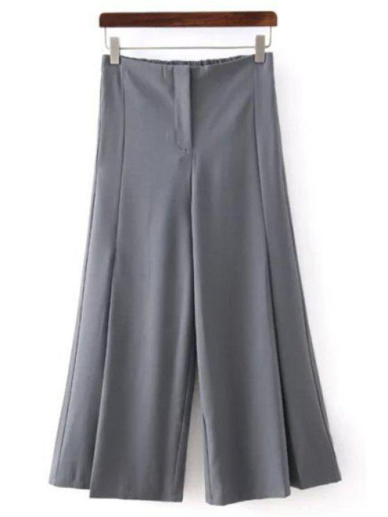 chic Solid Color All Match Loose Fitting Palazzo Pants - GRAY S
