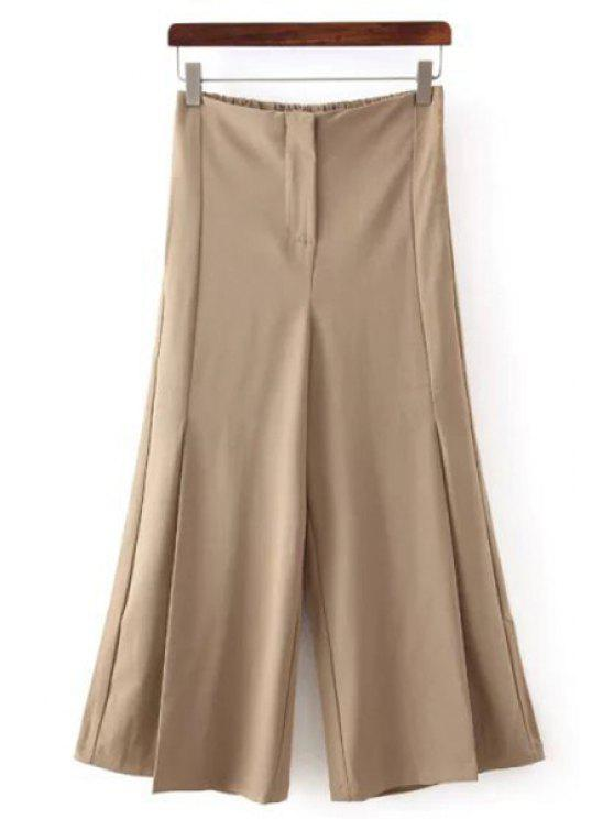 sale Solid Color All Match Loose Fitting Palazzo Pants - KHAKI M
