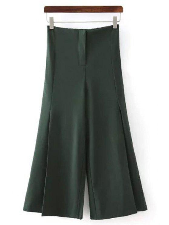 buy Solid Color All Match Loose Fitting Palazzo Pants - GREEN M