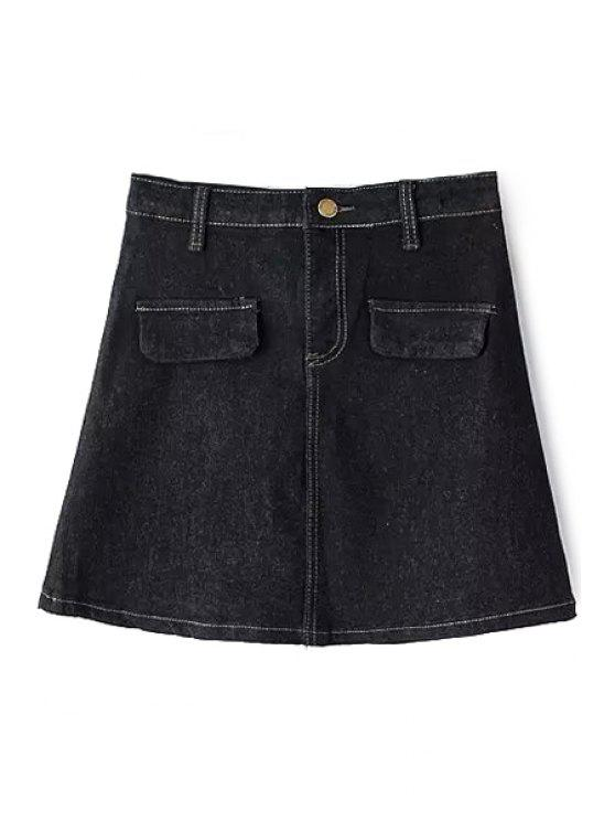 trendy Pure Color High Waist Denim Skirt - BLACK M
