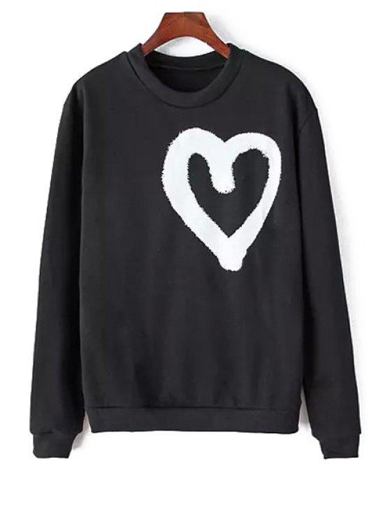 women's Heart Print Long Sleeves Sweatshirt - BLACK ONE SIZE(FIT SIZE XS TO M)