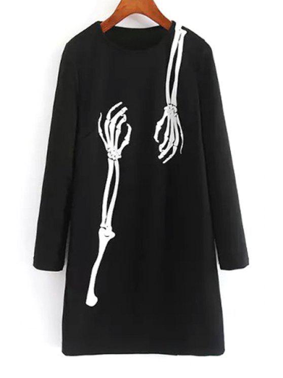 fashion Long Sleeve Skeleton Print Dress - BLACK S