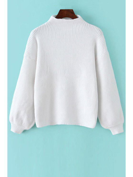 shops Solid Color Stand Collar Lantern Sleeves Sweater - WHITE ONE SIZE(FIT SIZE XS TO M)