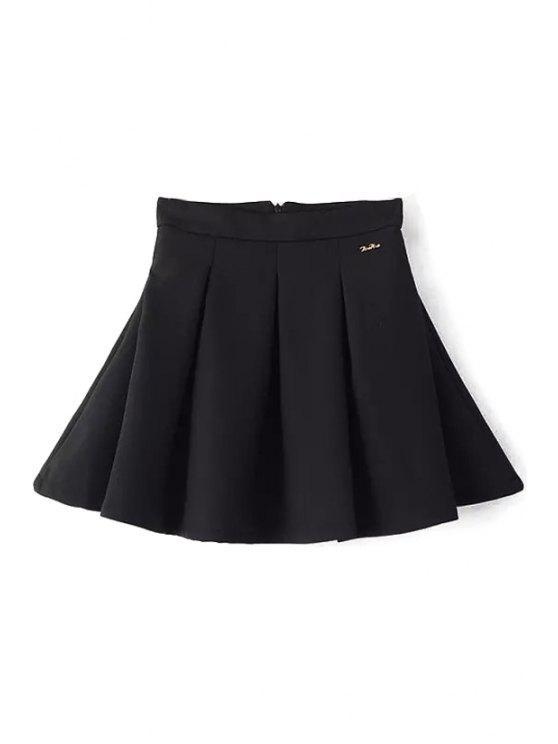 unique Black High Waist Flare Skirt - BLACK S