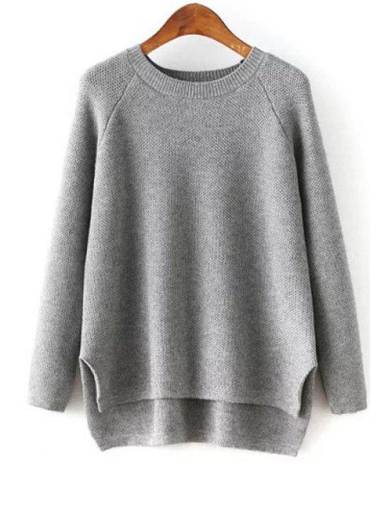 affordable High-Low-Hem Round Collar Long Sleeves Sweater - GRAY ONE SIZE(FIT SIZE XS TO M)