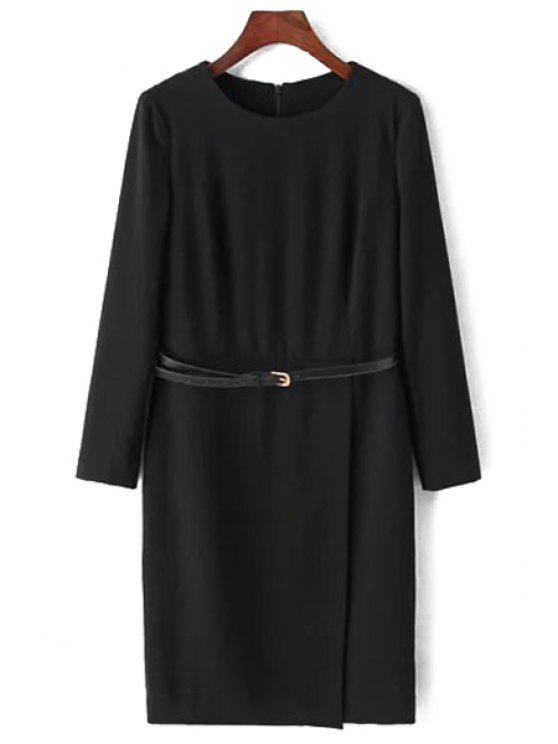 trendy Black Jewel Neck Long Sleeve Dress - BLACK S