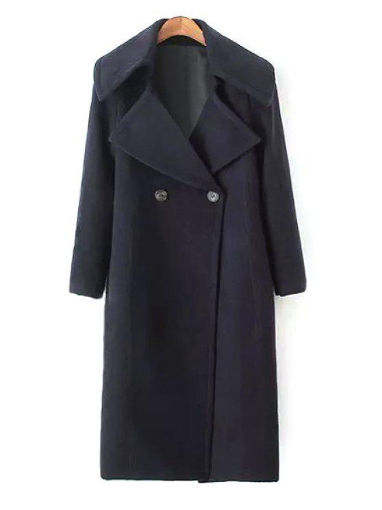 women's Elegant Lapel Solid Color Coat - BLACK XS