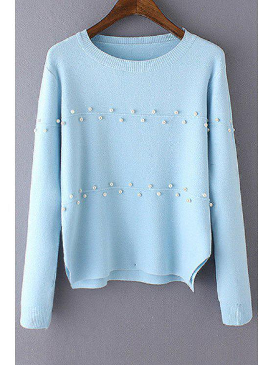 shops Beaded Jewel Neck Long Sleeve Jumper - BLUE ONE SIZE(FIT SIZE XS TO M)