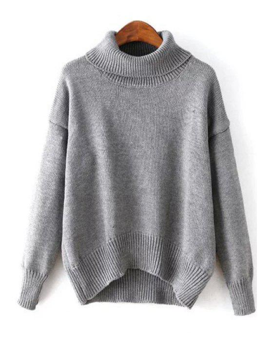 womens Loose-Fitting Solid Color Turtle Neck Sweater - GRAY ONE SIZE(FIT SIZE XS TO M)